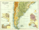 ARGENTINA CHILE URUGUAY. Inset Lima Valparaiso Buenos Aires Montevideo 1909 map